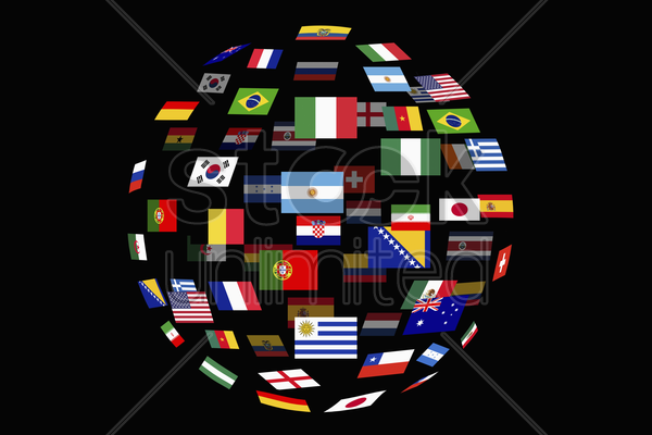 world flags in digital illustration stock photo