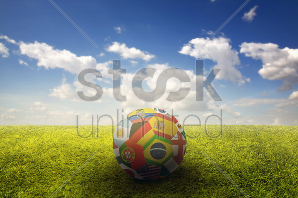 world flags soccer ball on a playing field stock photo