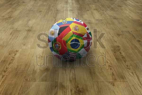 world flags soccer ball on parquet floor stock photo