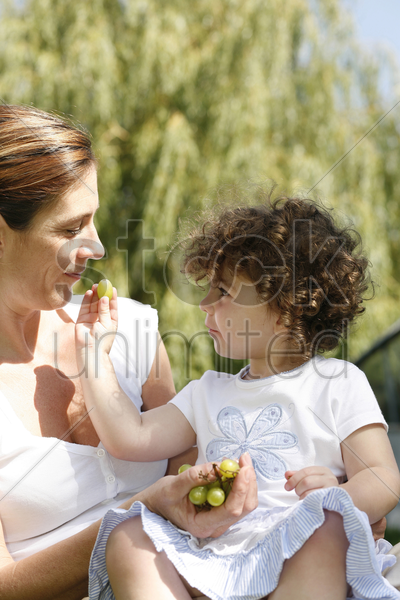 young girl feeding her mother some green grapes stock photo