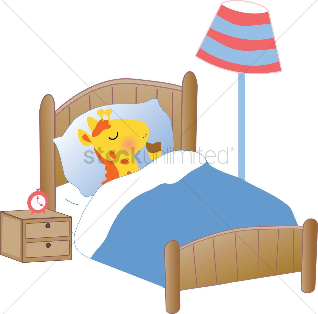 A Giraffe Sleeping In Bed Vector Image 1259250