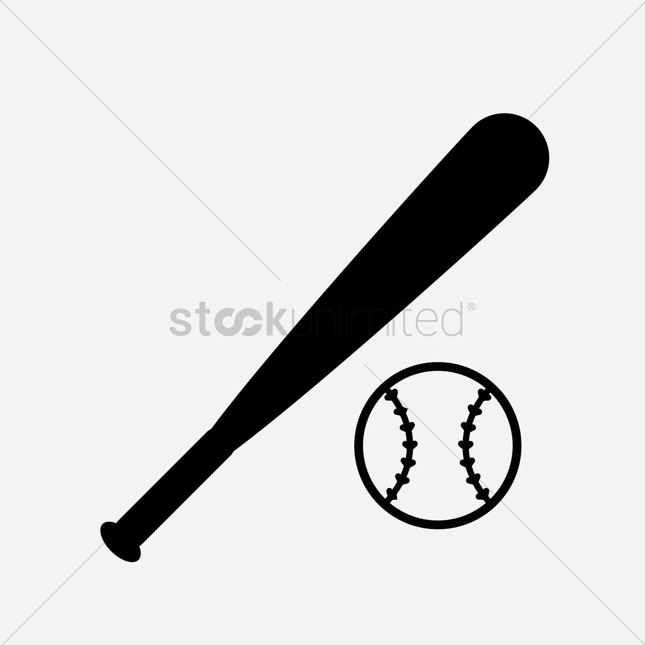 Baseball ball and bat cartoon clip art Royalty Free Vector  |Baseball Bat And Ball Vector