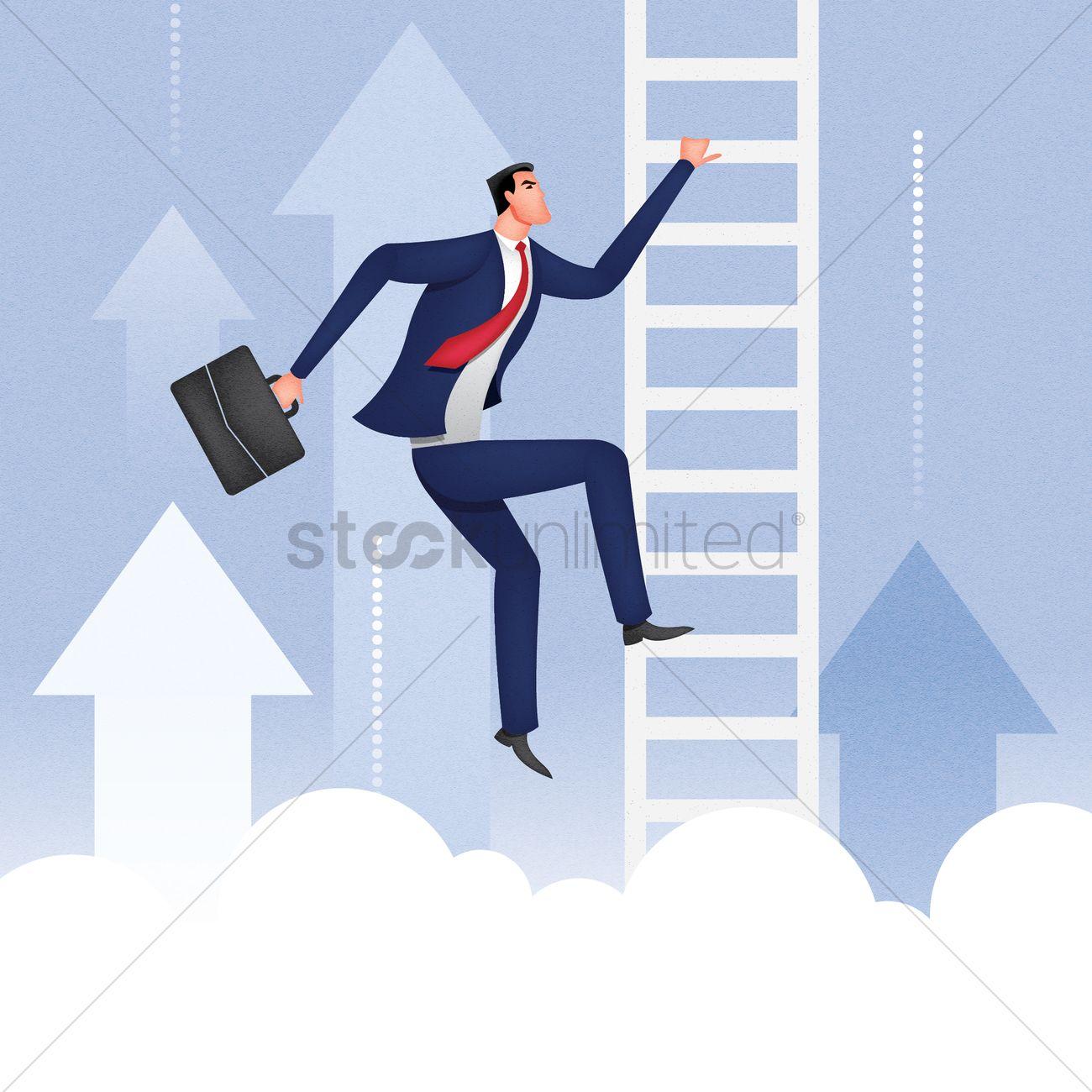 businessman climbing up the ladder vector image  businessman climbing up the ladder vector graphic