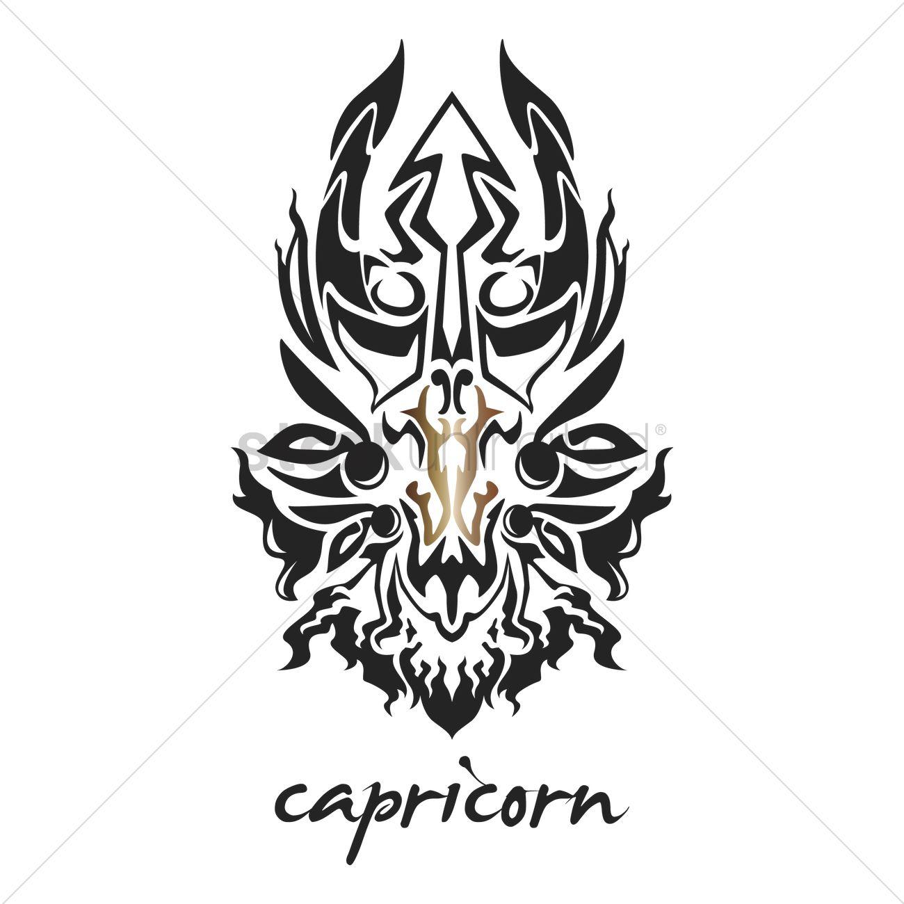 capricorn tattoo horoscope design vector image 1969171