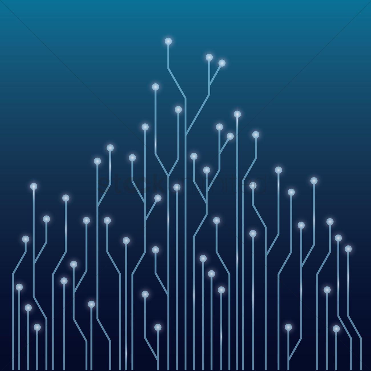 Wall Designs Ideas Circuit Board Tree Design Vector Image 1647154
