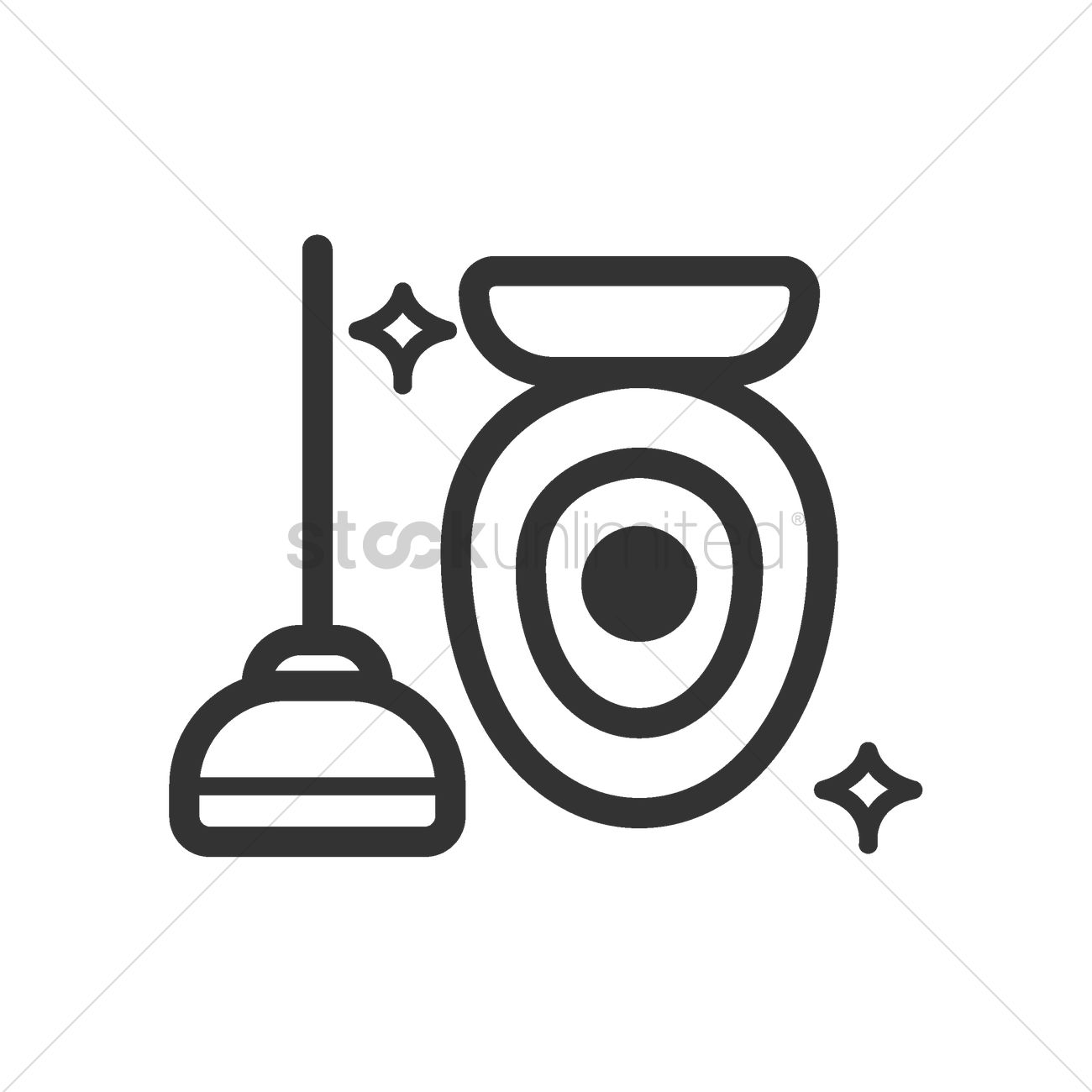 Clean toilet bowl with plunger Vector Image - 2002878 | StockUnlimited