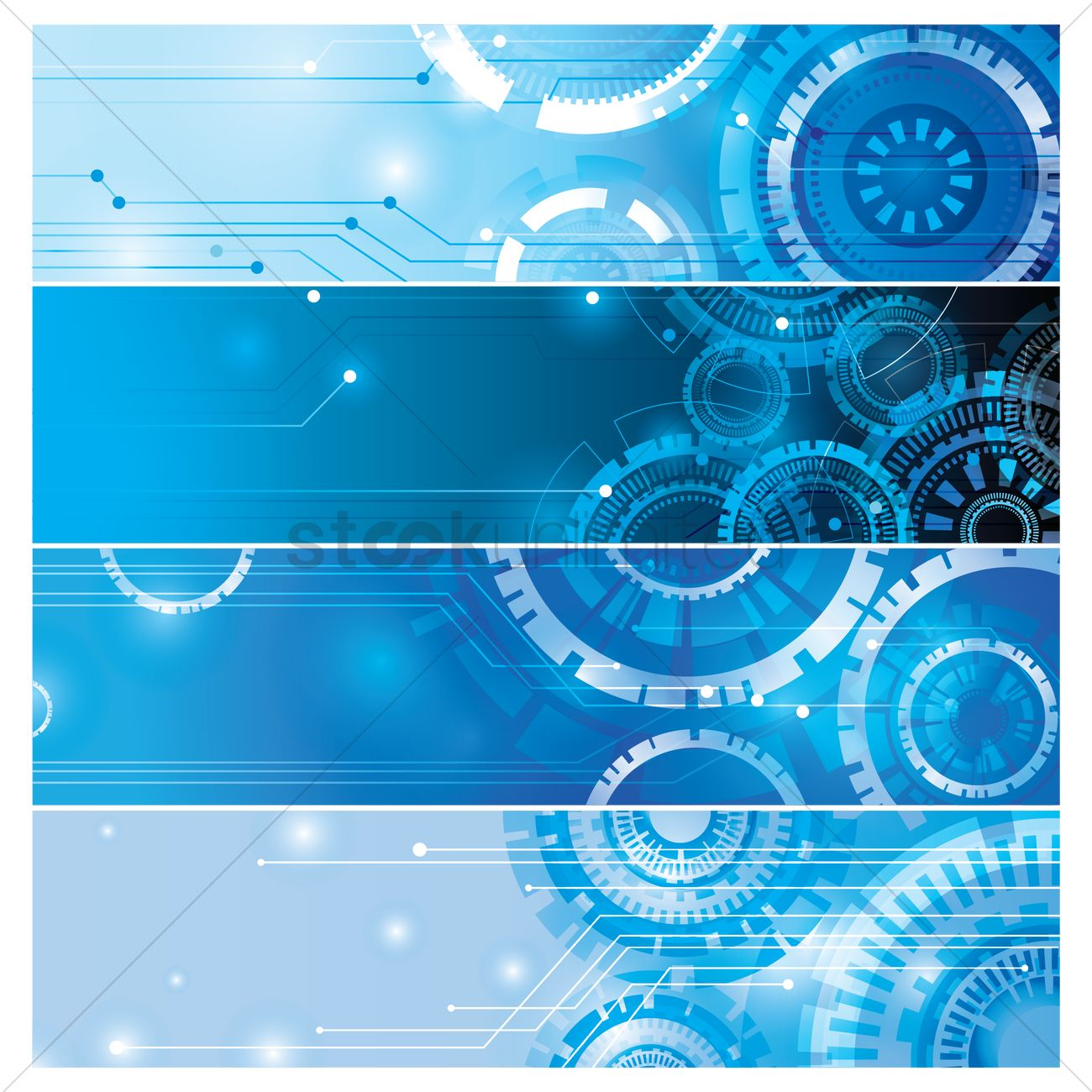 collection of blue technological web banner designs vector image