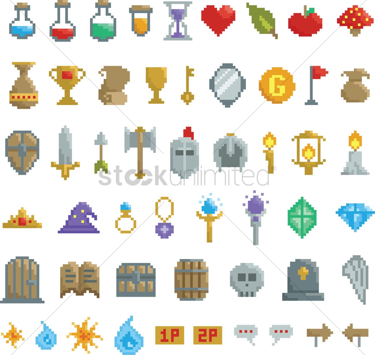 collection of pixel game items vector image 2021454