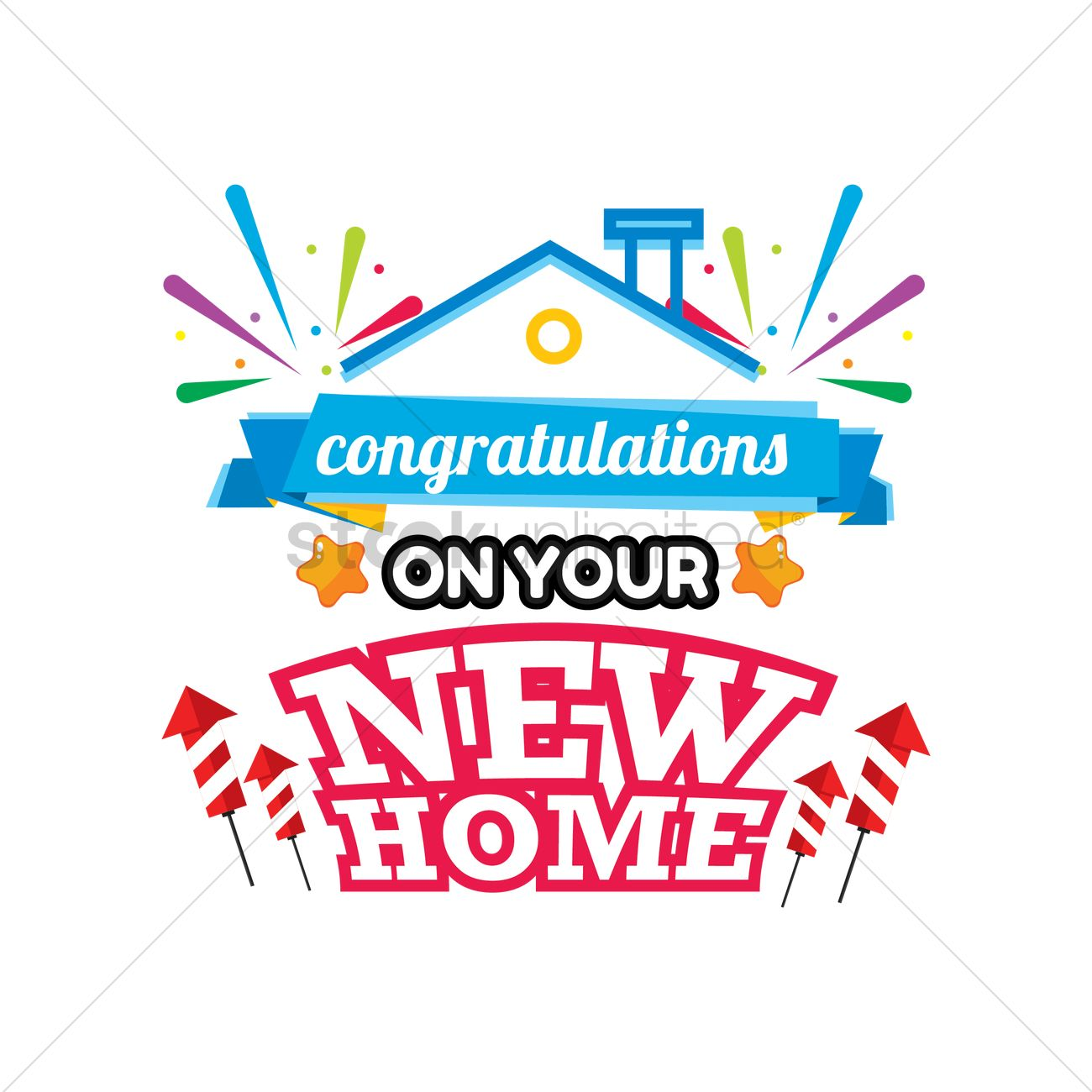 Congratulations On Your New Home Label Vector Graphic