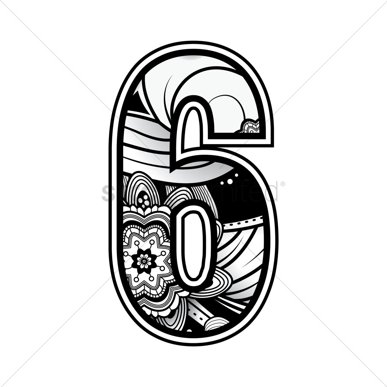 free decorative number 6 vector image
