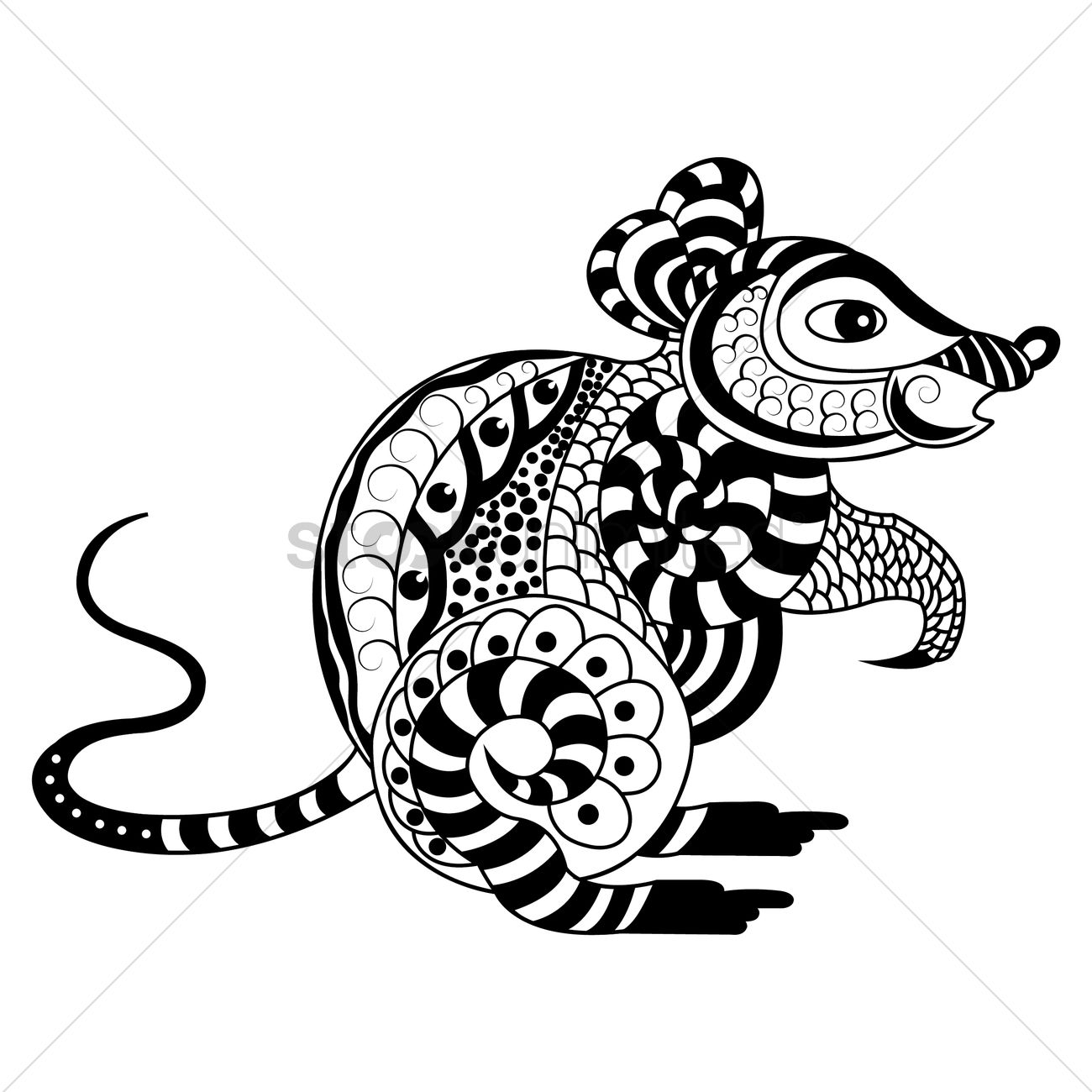 Line Art Rat : Decorative rat design vector image stockunlimited