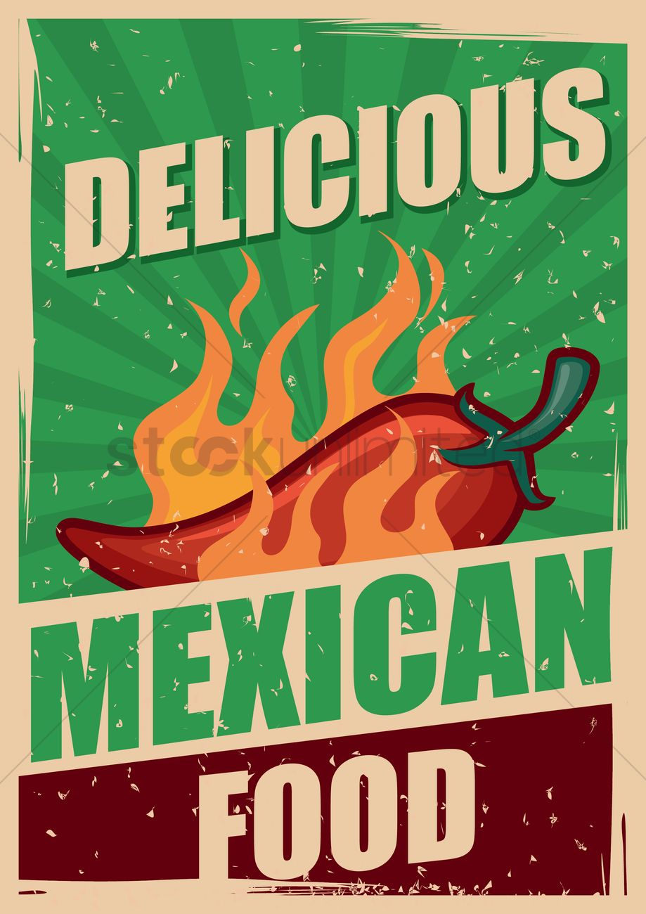 free delicious mexican food poster vector image 1566416 stockunlimited. Black Bedroom Furniture Sets. Home Design Ideas