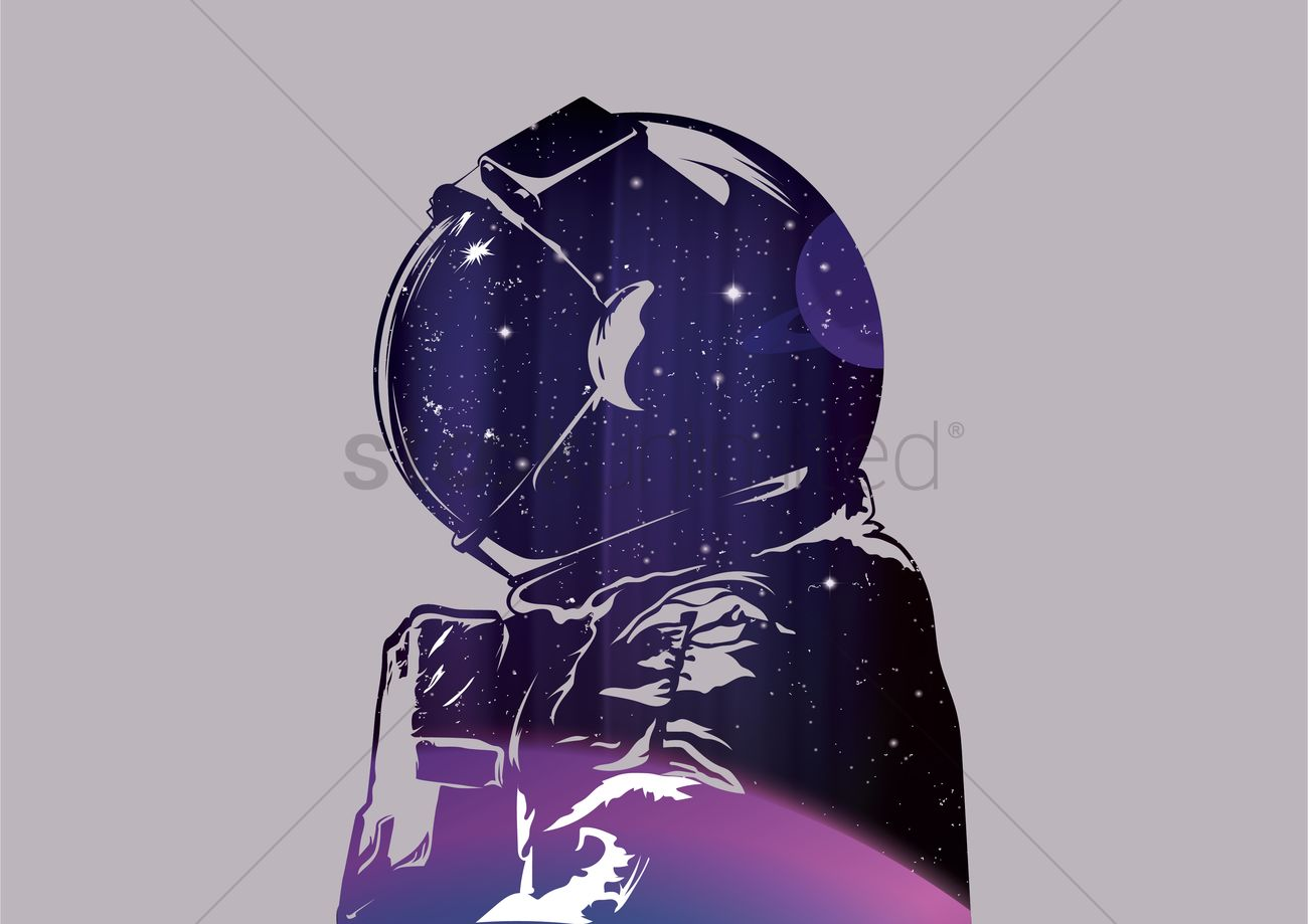 Double exposure of astronaut Vector Image - 1558145 | StockUnlimited