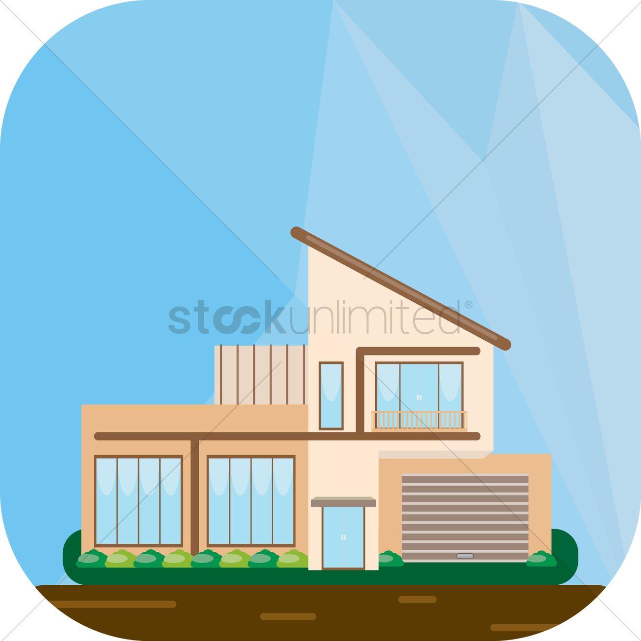 Modern house vector for Modern house clipart