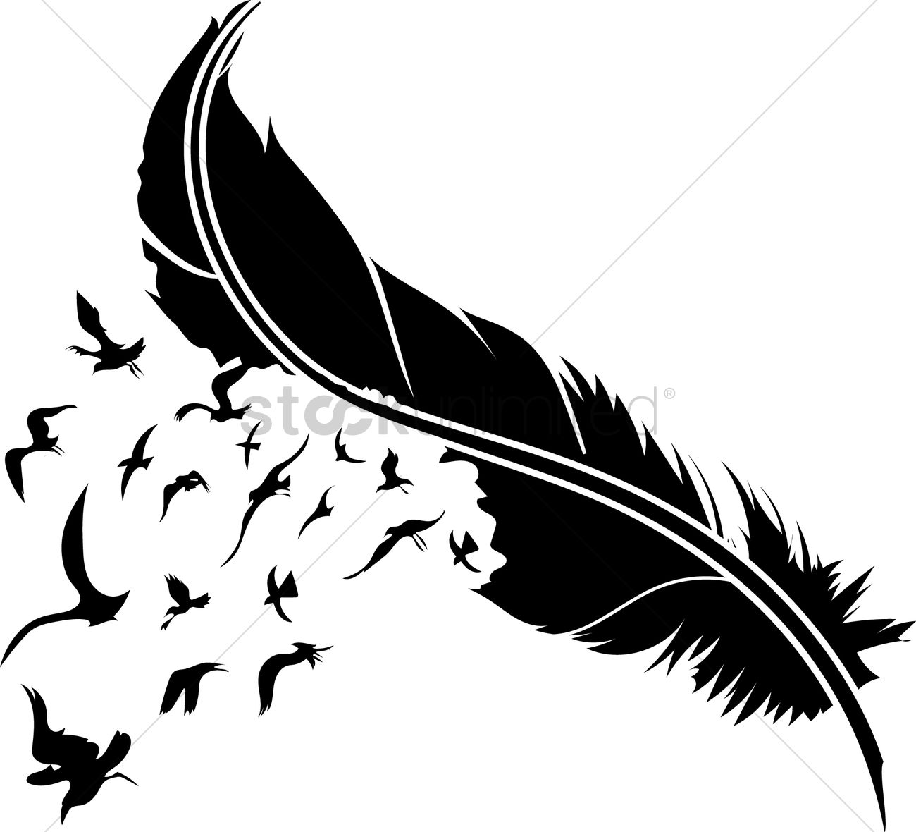 Feather with birds - photo#16