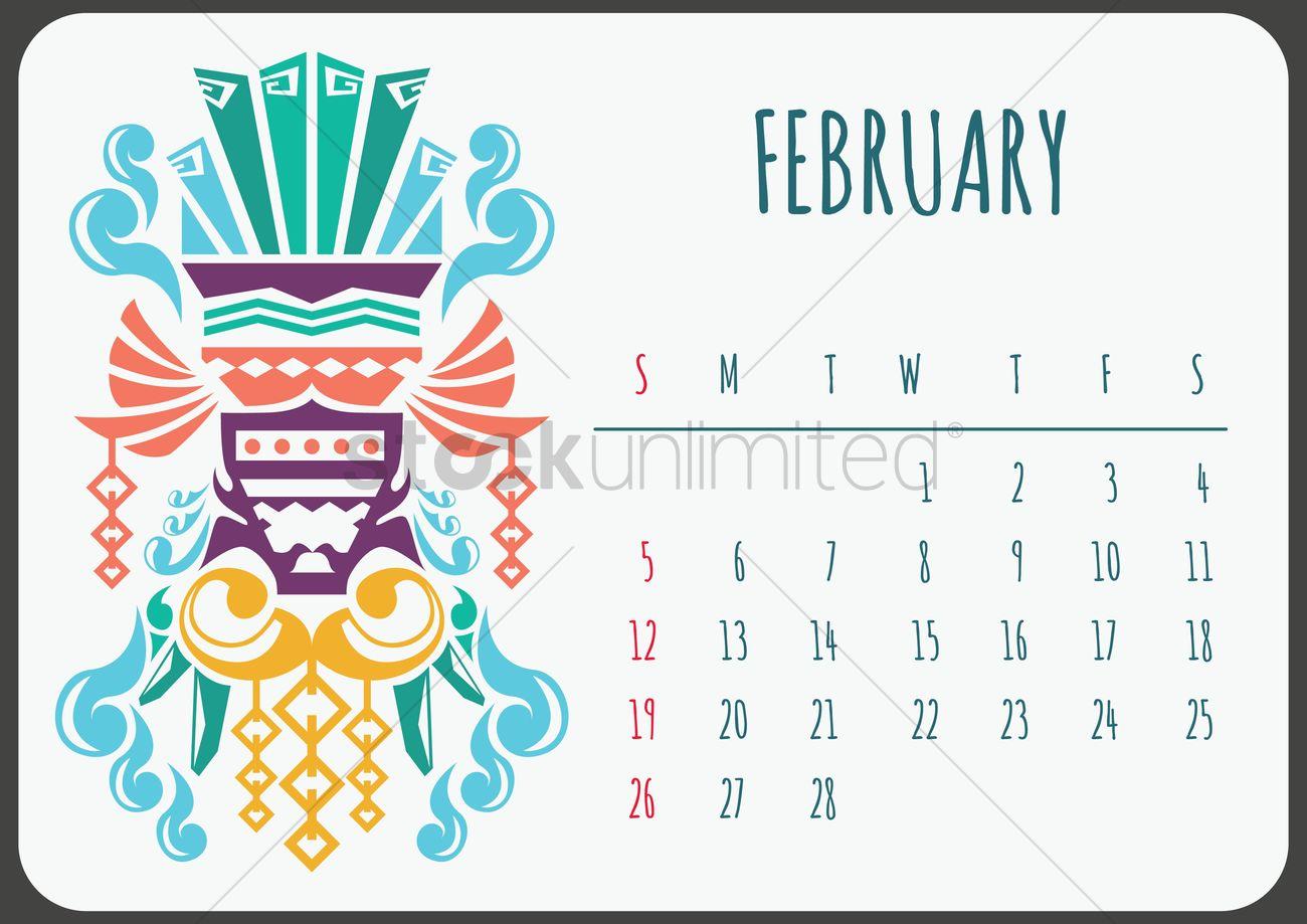 February Calendar Illustration : February ethnic calendar vector image
