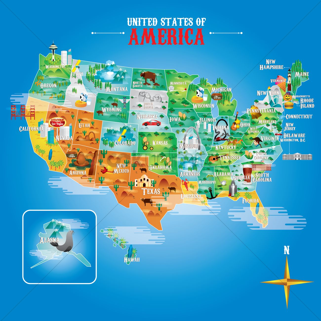 Banner Banners Set Sets Collection Collections Sign Signs Us Map - Usa map landmarks