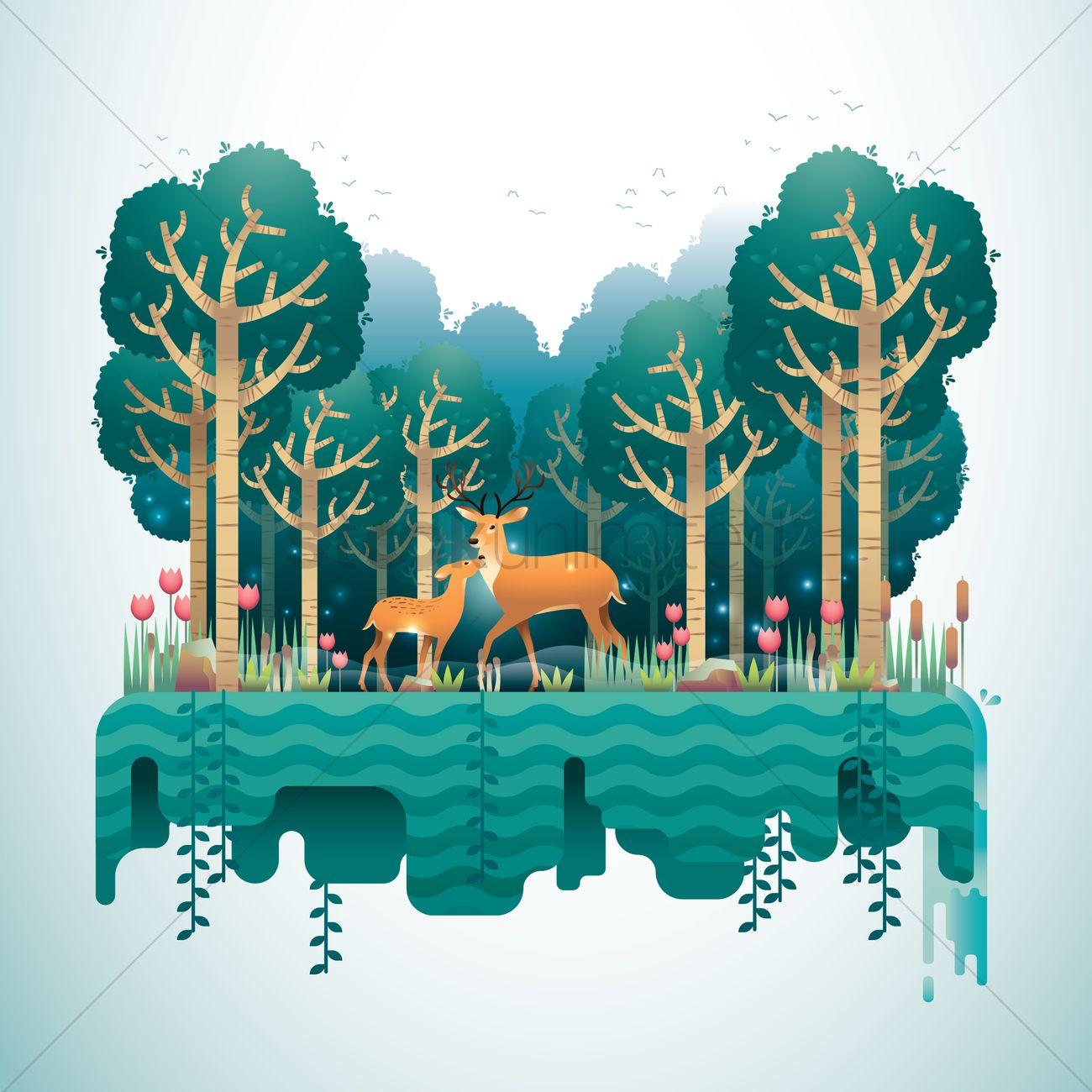 Forest landscape Vector Image - 1488988 | StockUnlimited
