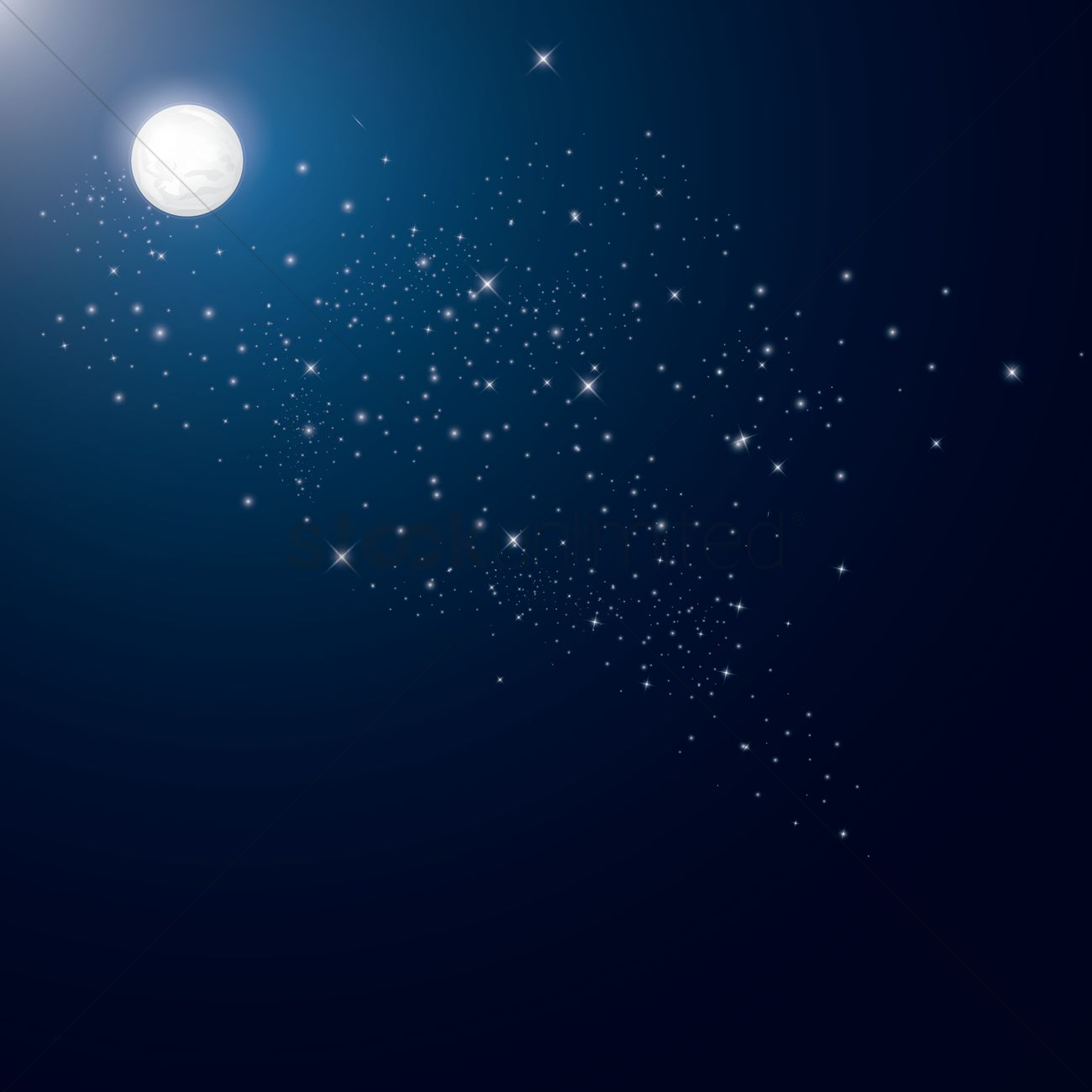 Full moon and stars background Vector Image - 1519164 ...