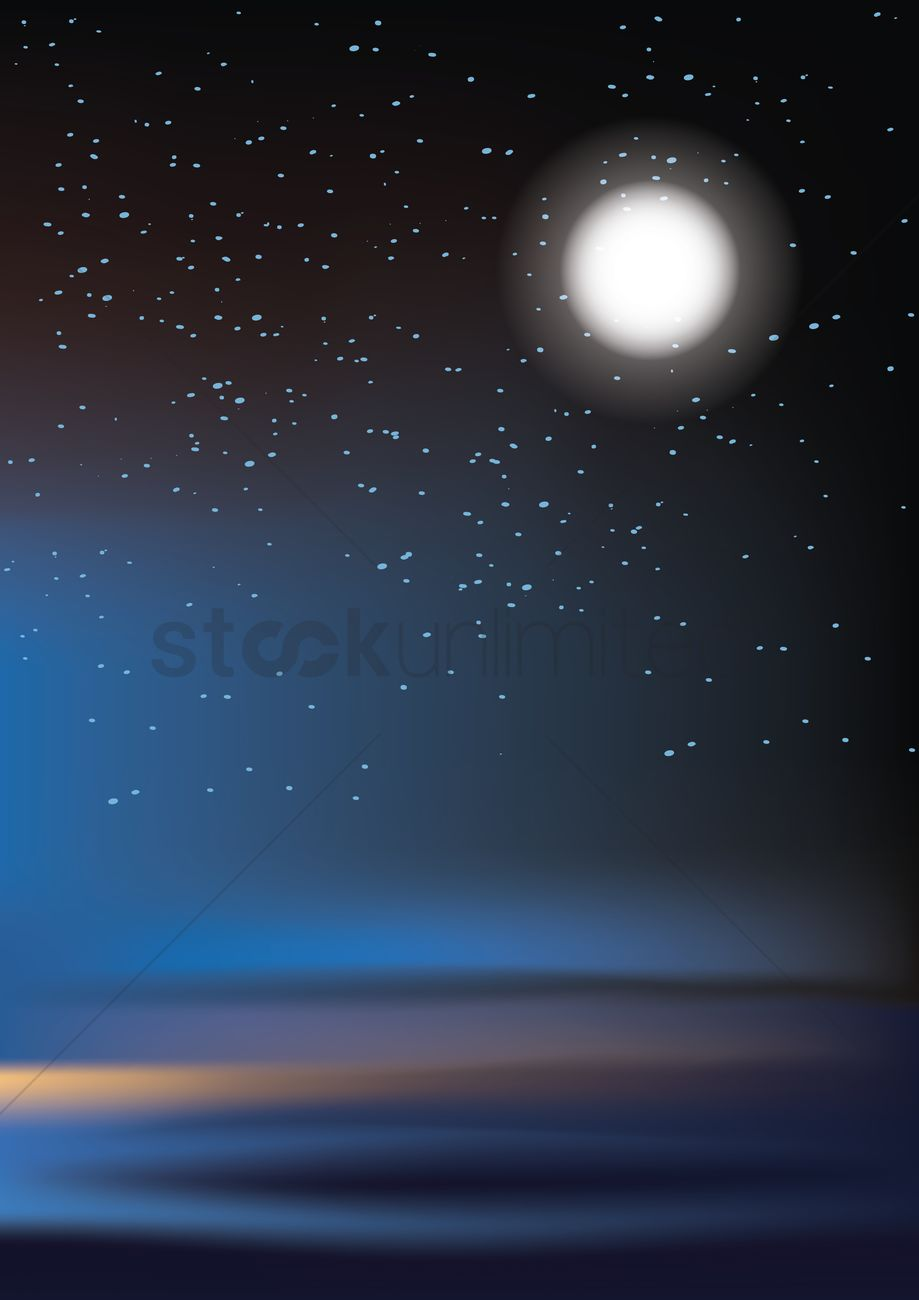 Full moon and stars background Vector Image - 1519595 ...