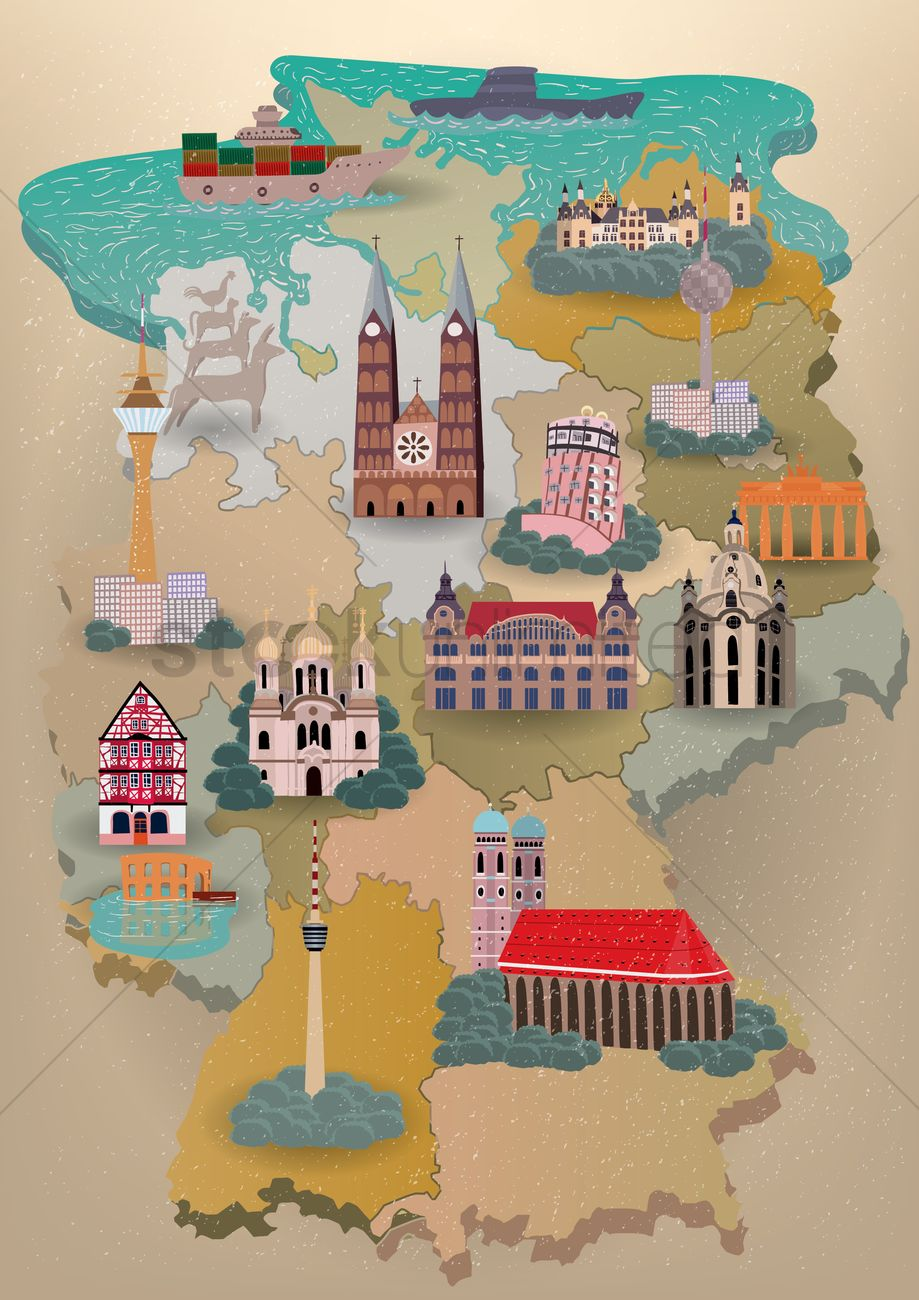 Germany Map With Landmarks Vector Image  StockUnlimited - Usa map and landmarks