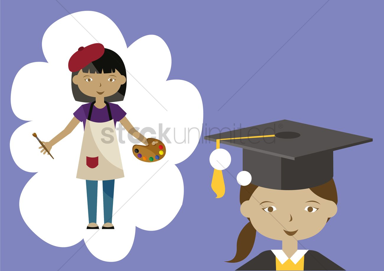Girl dreaming of being an artist Vector Image - 1395529 ...