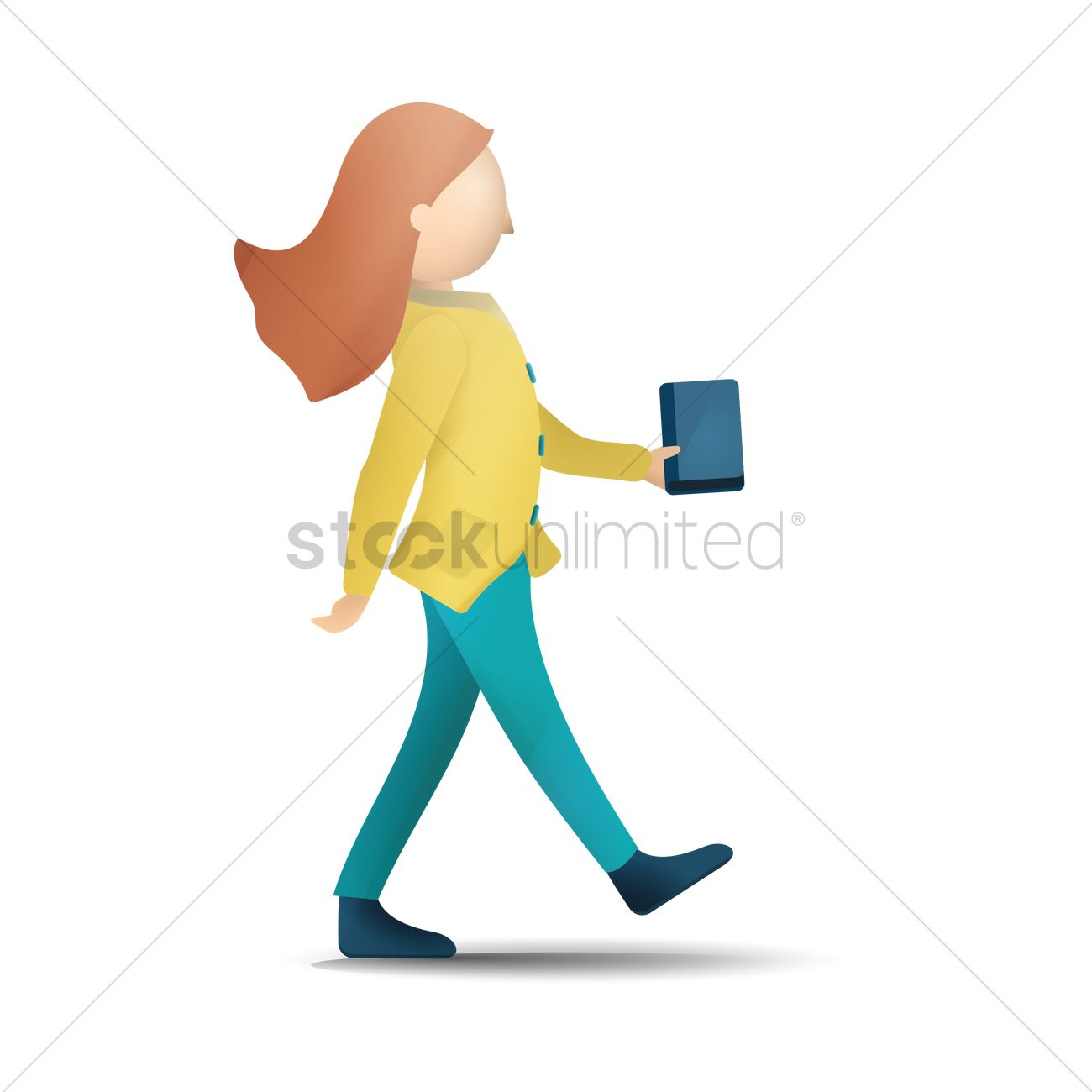 Girl walking with bag and book Vector Image - 1813520 | StockUnlimited