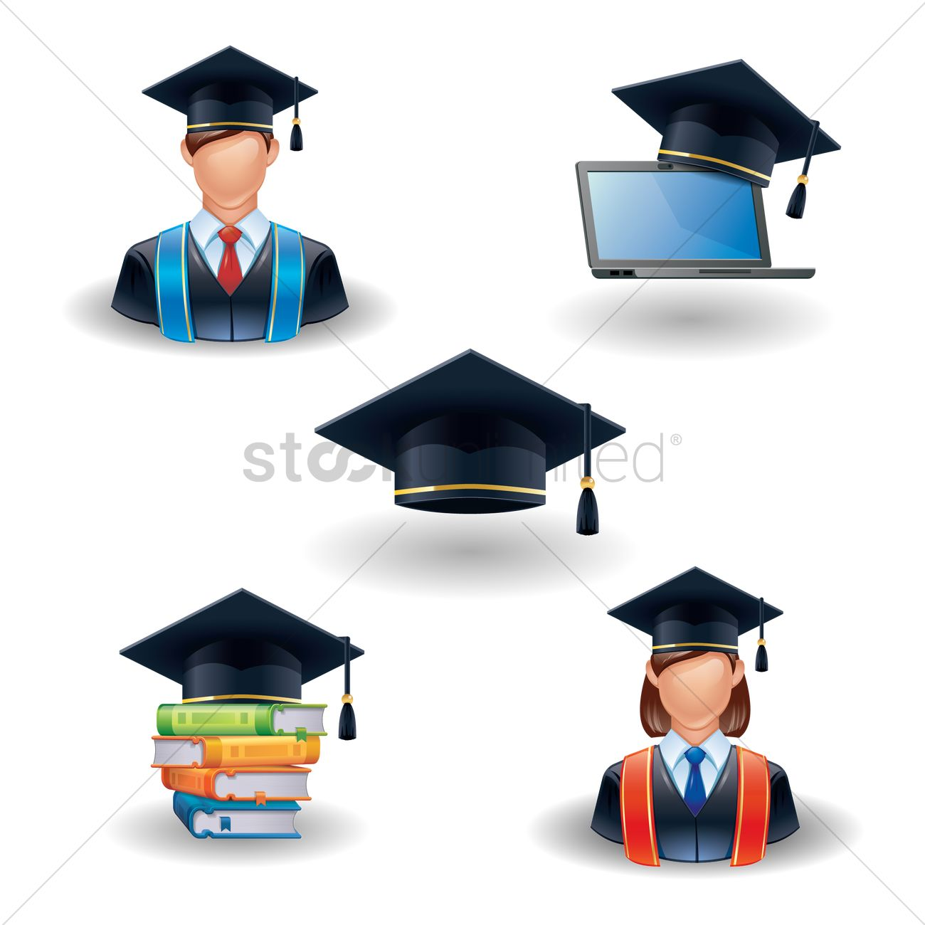 Graduation icons Vector Image - 1536064 | StockUnlimited