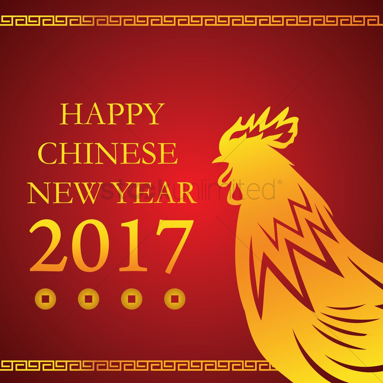 Happy chinese new year 2017 with rooster Vector Image - 1935022 ...