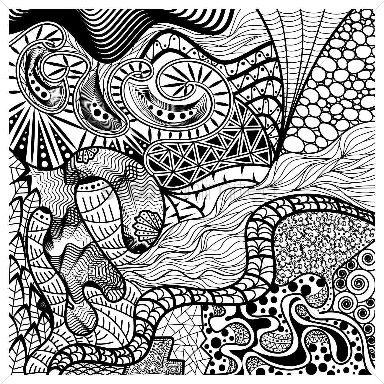 Line Art Design Abstract : Intricate abstract design vector image