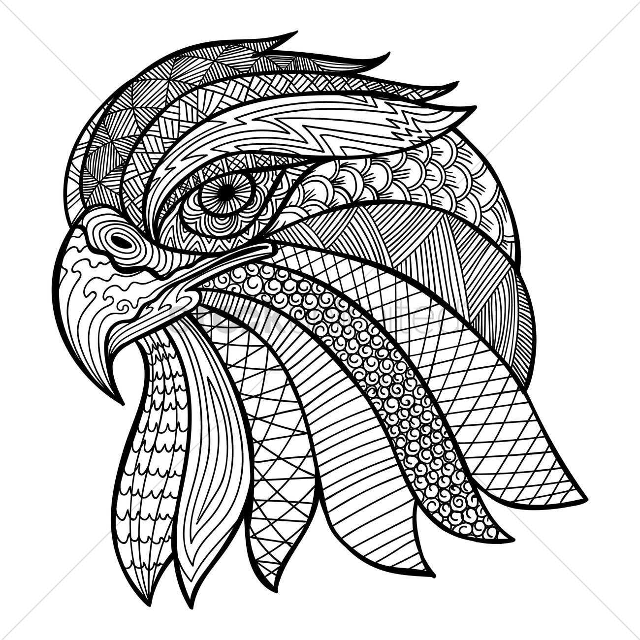 Detailed Line Drawings Of Animals : Intricate eagle design vector image stockunlimited