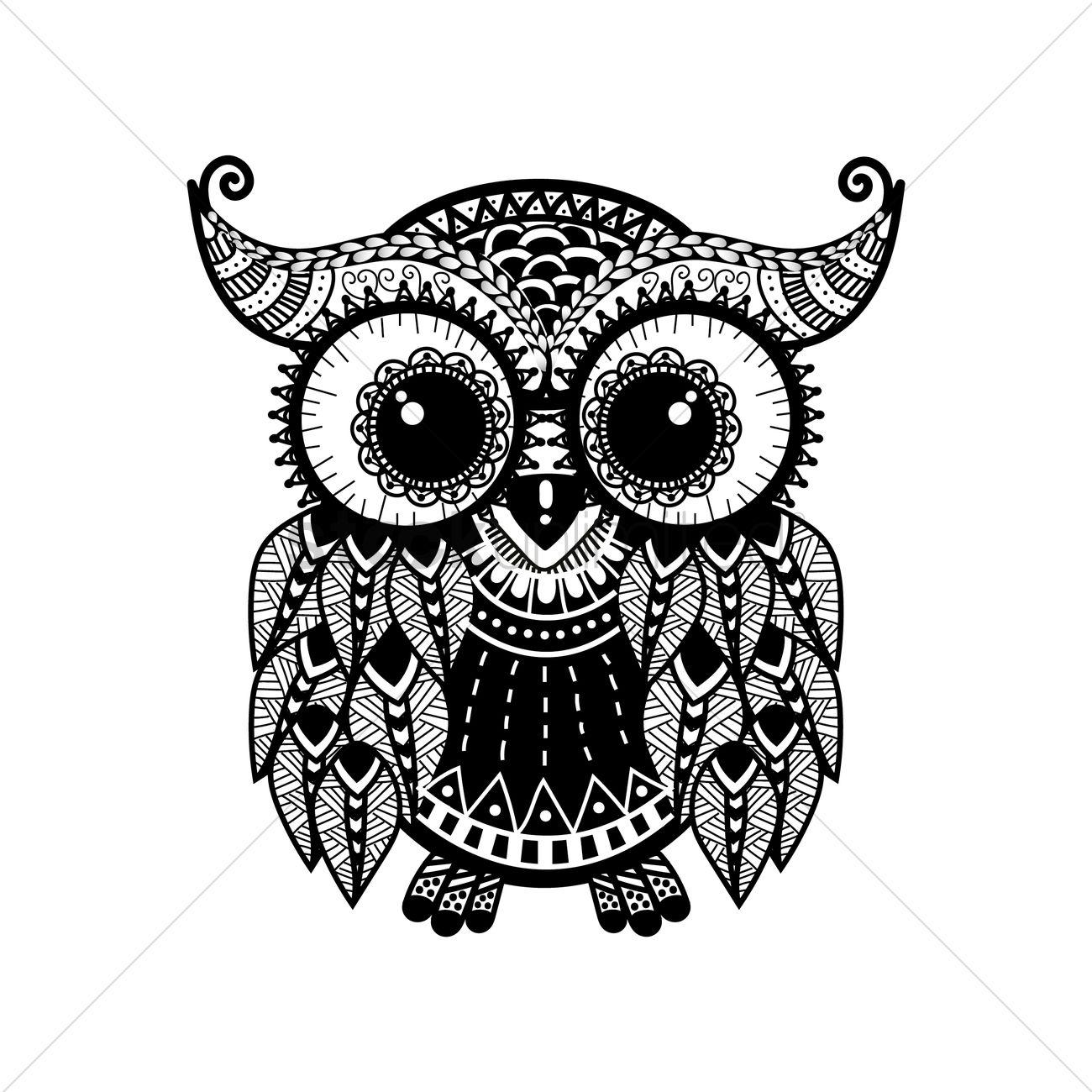 intricate owl design vector image 1544053 stockunlimited. Black Bedroom Furniture Sets. Home Design Ideas