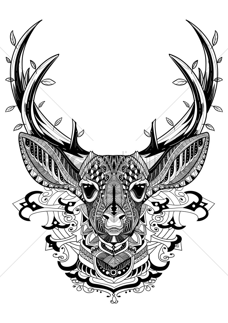 Intricate reindeer design vector image 1622866 for Deer coloring pages for adults