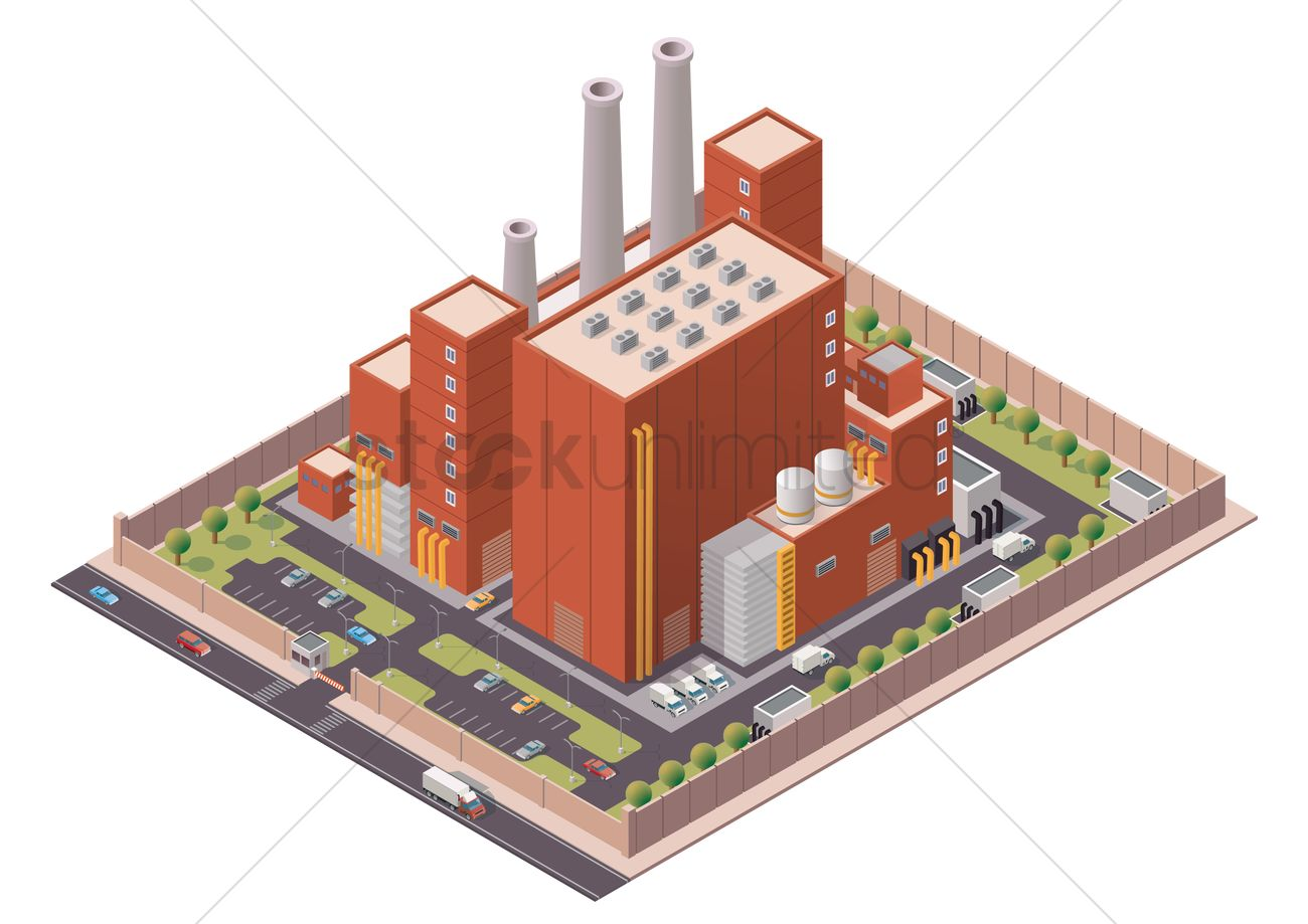Isometric factory building Vector Image - 1626375 ...