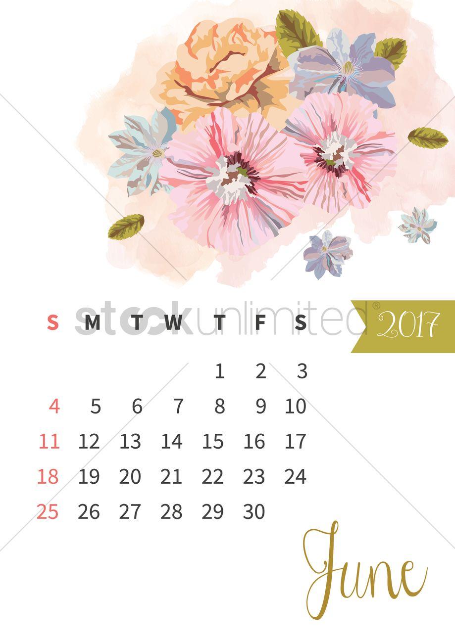 June 2017 floral calendar Vector Image - 1940315 | StockUnlimited
