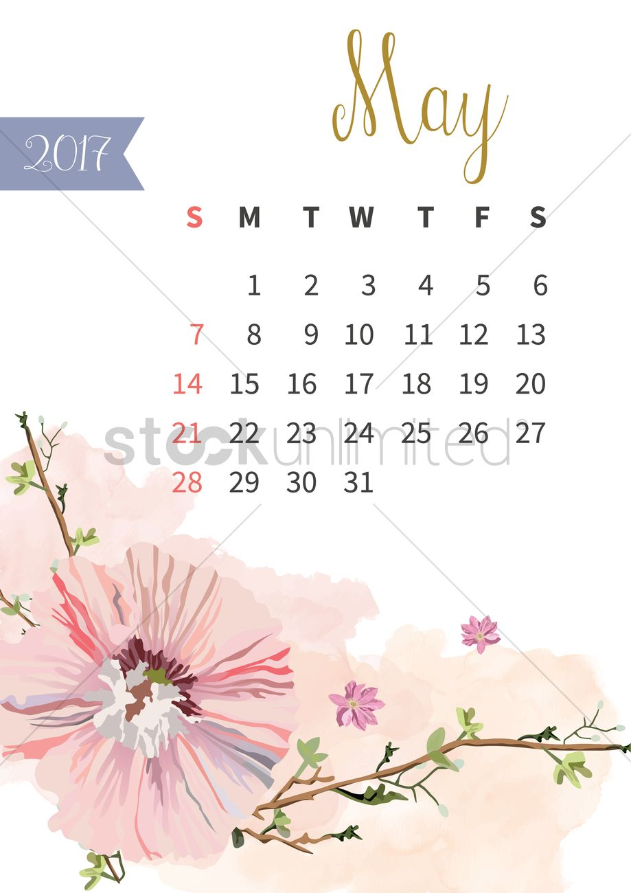 May 2017 floral calendar Vector Image - 1940314 | StockUnlimited
