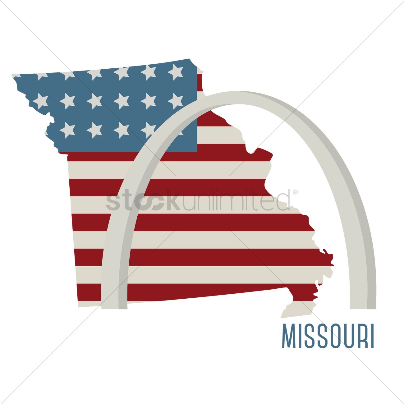 Missouri State Map With St Louis Gateway Arch Vector Image - United states map of missouri