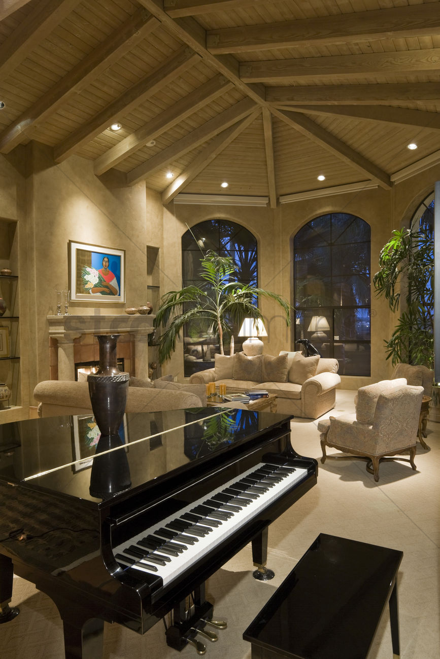 Modern Living Room With Grand Piano Stock Photo