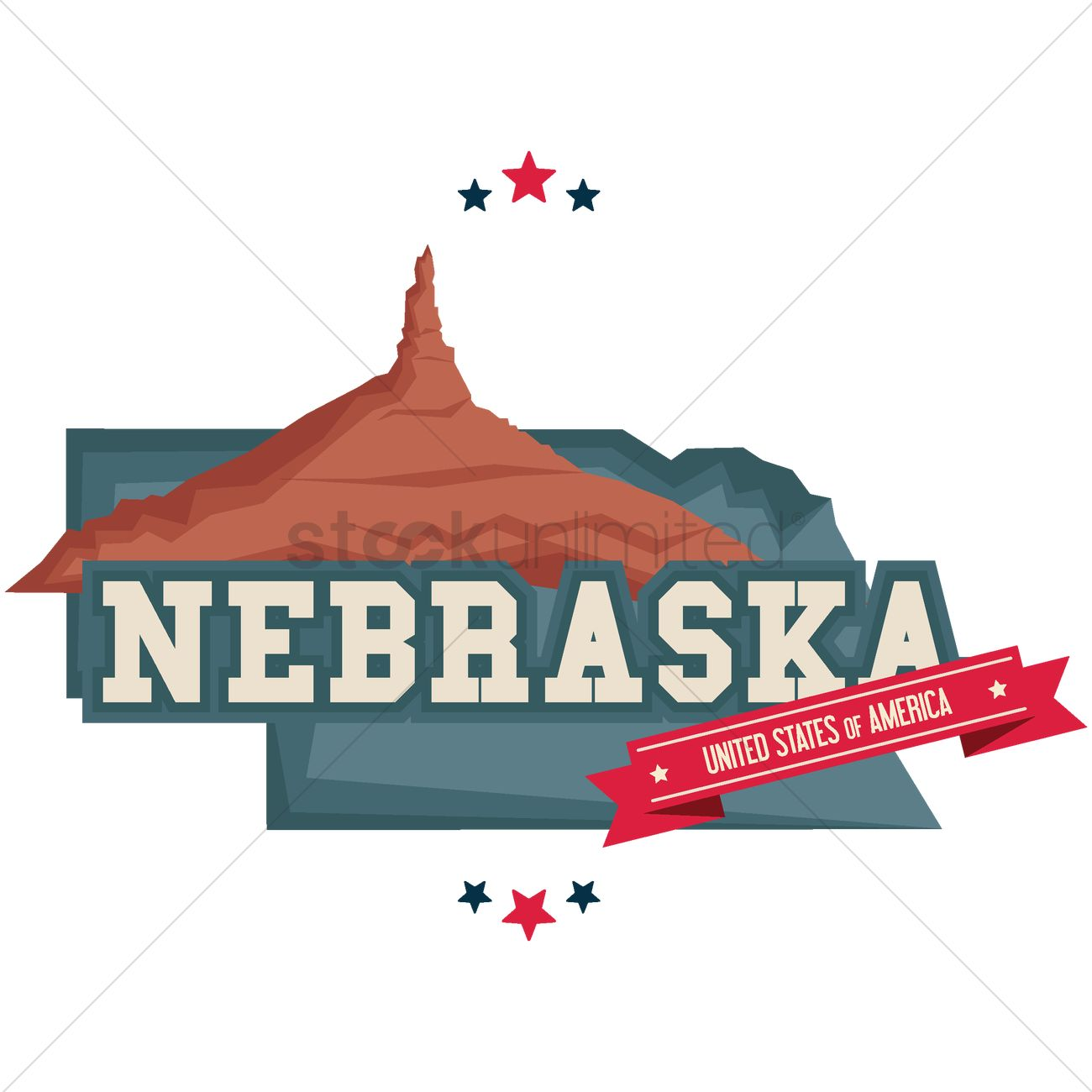 Nebraska Map With Chimney Rock Vector Image  1541155