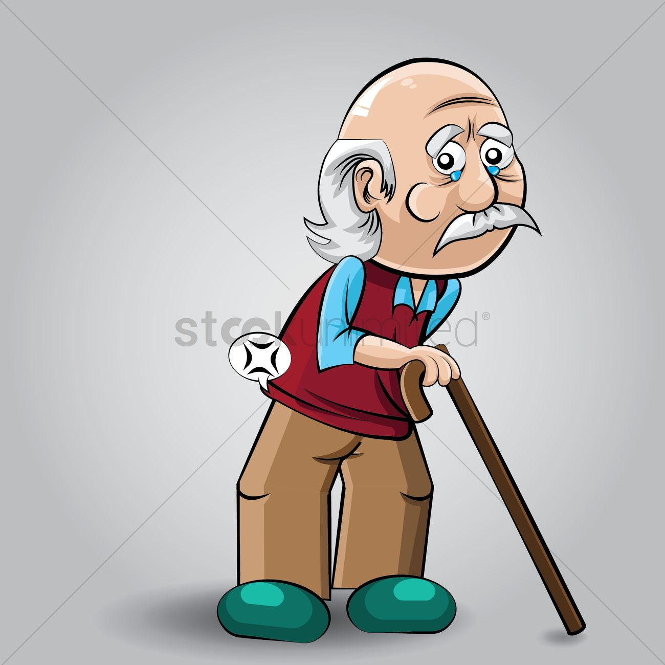 Cartoon Characters Old Man : Old man with stick vector image stockunlimited