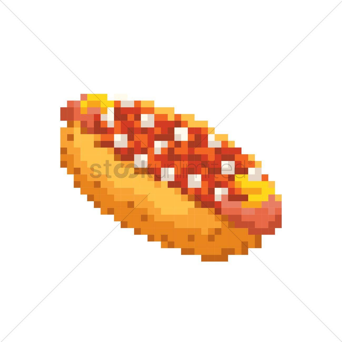 pixel art hot dog