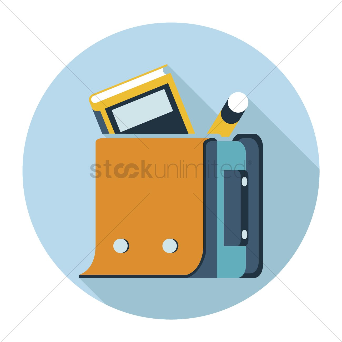 School bag with a book and pencil inside Vector Image - 1243886 ...