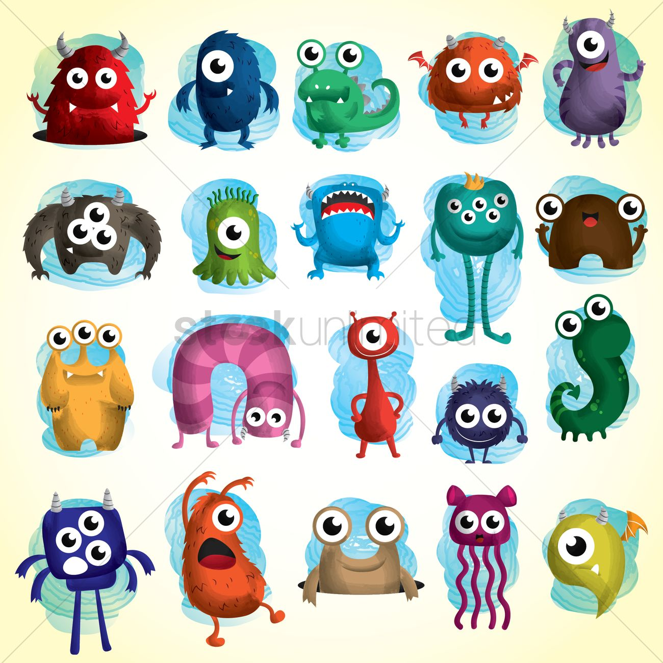 Set of cute monster icons Vector Image - 1531522 ...