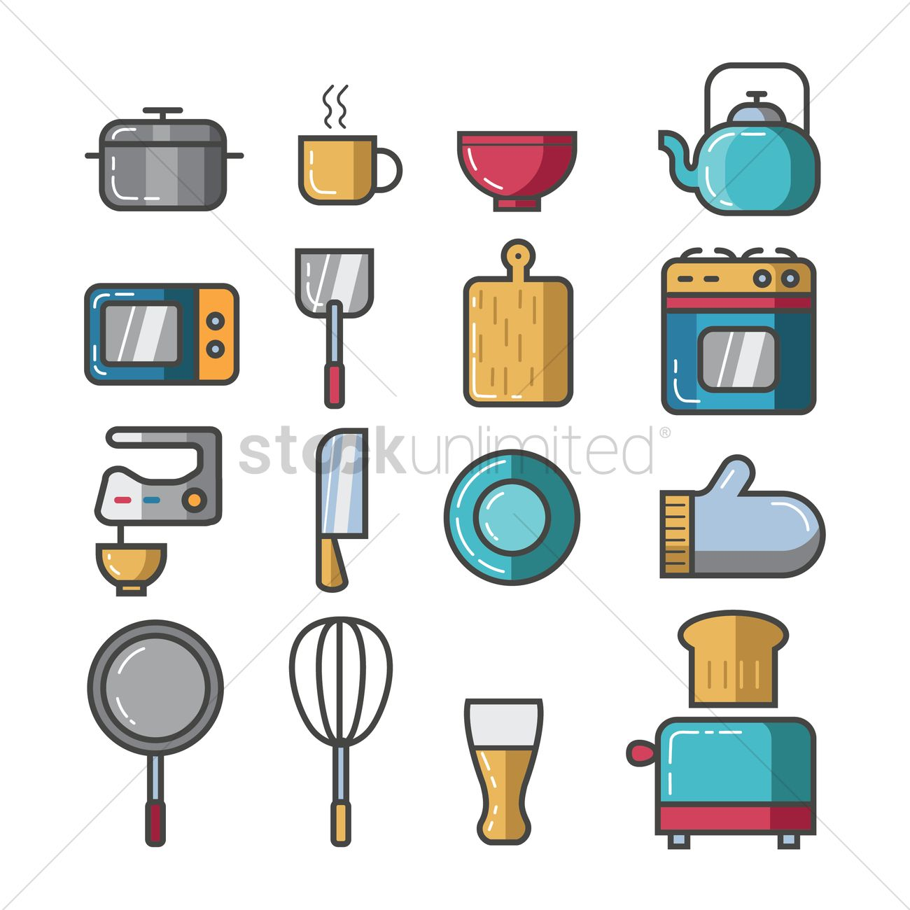 Set of kitchen icons vector image 2031939 stockunlimited for Kitchen set vector