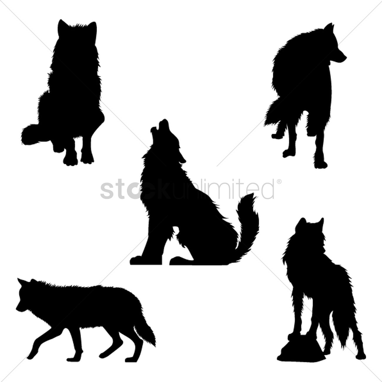 Set of wolf silhouettes Vector Image - 1501707 ...