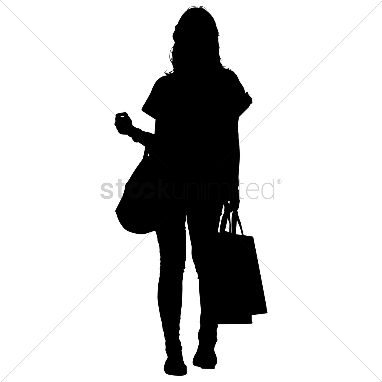 Silhouette of a lady with shopping bags Vector Image ...