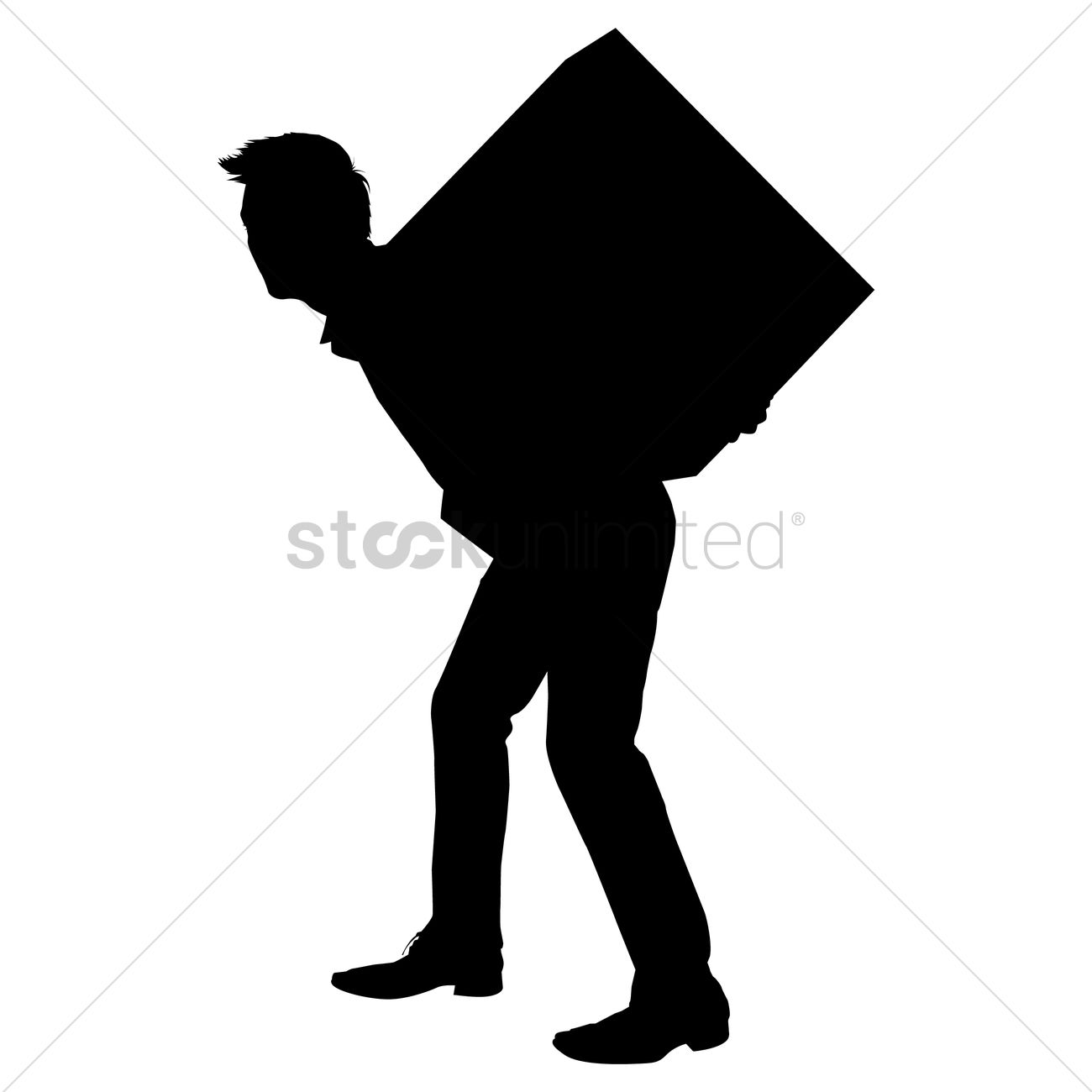 Silhouette Of A Man Carrying Box Vector Image 1253927