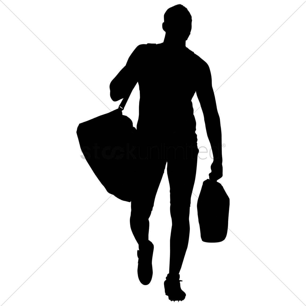 Silhouette of a man with bag Vector Image - 1253889 ...