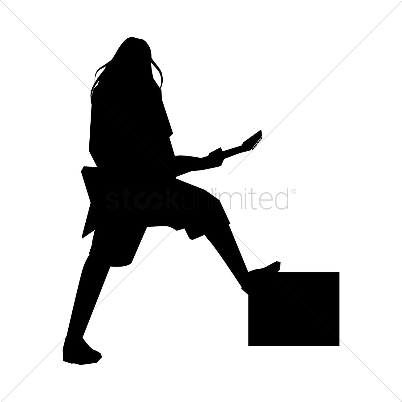 Silhouette of a rocker playing the electric guitar Vector ...