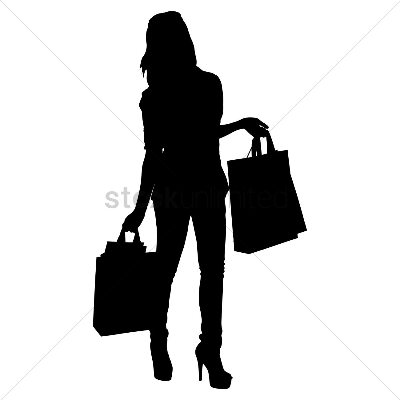 Lady Standing Shopping Vector Shoes